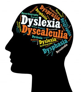 Black head with the brain made with words related to Learning Disabilities. It is believed that Learning Disabilities (LD) affect between 5 and 10 percent of the population. The most common disabilities are: Dyslexia, Dysgraphia, Dysphasia, Dyspraxia, Dyscalculia and Dysorthography.